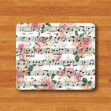 Music Sheet Flower Lace Flower Song Note Mouse Pad Vintage Art Computer MousePad Desk Deco Work Pad Personalized Rose For Boss Classic Item