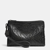 MINI STUDS LARGE WRISTLET IN LEATHER