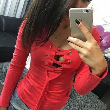 DCCKHQ6 Red Drawstring Lace Up Cut Out Round Neck Long Sleeve T-Shirt