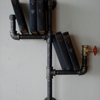 Industrial Vertical Pipe Book Shelf with Water Tap