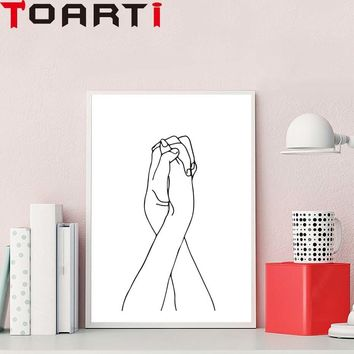 Women Hands White And Black Posters And Prints Simple Wall Art Canvas Painting For BedRoom Decoration Home Deco