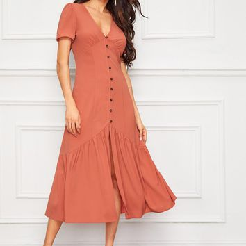Ruffle Split Hem Button Detail Tie Back Dress