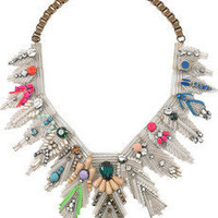 Shourouk | Feather crystal and bead bib necklace | NET-A-PORTER.COM