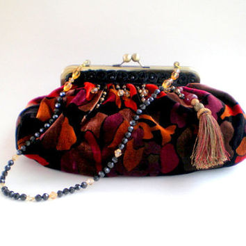 velvet, fabric handbag, 30% OFF Coupon, Cyber Monday, bohemian handbag, clutch, gypsy, evening bag, theater bag, New Years, beaded strap