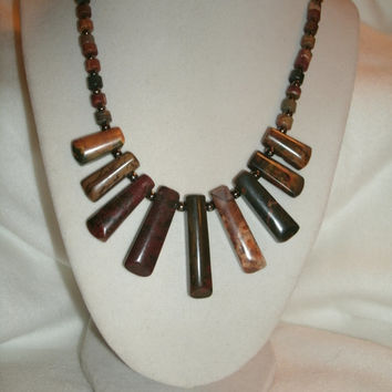Piccaso Jasper Fan Necklace, earth tones,  Cleopatra necklace,  Women, Fashion Jewelry  OOAK necklace, 9 fanned out pieces