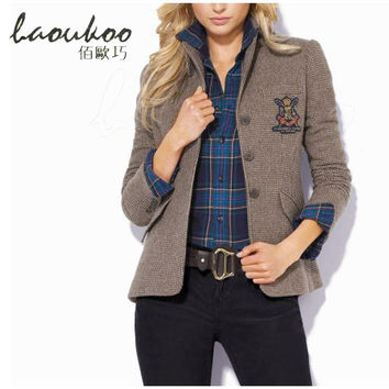 Women's Plaid Blazer Jacket Cashmere Short Coat Small Suit Autumn &Winter New Slim Suit Collar Long-sleeved Suit Jacket Jaqueta