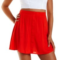 Red Button-Up Woven Skater Skirt by Charlotte Russe
