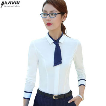 Shirt female long-sleeve 2017 spring fashion slim Patchwork bow tie women's white blouse office ladies plus size work wear tops