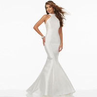 Sexy Mermaid Prom Dresses Vnaix P1240 Halter Backless with Ruffles Train White Satin Prom Dress Formal Evening Party Dress