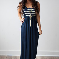 Striped Top Tank Maxi Dress - Navy