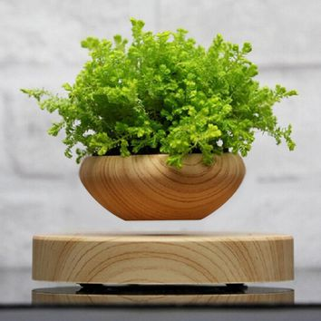 Magnetic Suspended Bonsai Plant Pot Grain Round LED Levitating Indoor Air Floating Pot for Home Office Decoration