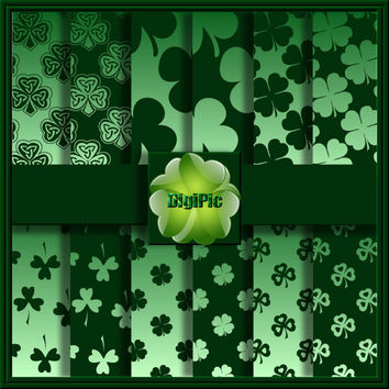 "COMMERCIAL USE OK 12 Digital St Patricks Day Shamrock Green, Scrapbook Papers, 12""x12"" 300Dpi Instant Download"