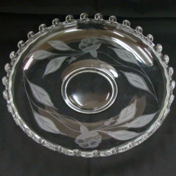 "1940's Heisey Lariat Gardenia Bowl Etched Flowers 12"" Bowl"
