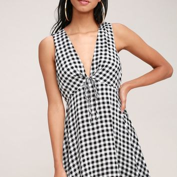 Flare and Square Black and White Gingham Dress