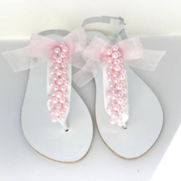 White wedding sandals -White decorated sandals with  Blue lace flowers - Bridal party - Greek leather sandals - Beach wedding - Summer shoes