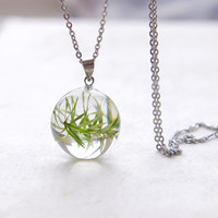 Real Plant Necklace - green pendant gift for vegan - vegetarian necklace jewelry