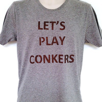 Let's Play Conkers tshirt Mens - Lovely soft organic cotton, grey T-shirt, slim fit
