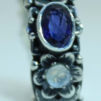 Beautifully Detailed Sterling Silver Iolite & Rainbow Moonstone Flower ring