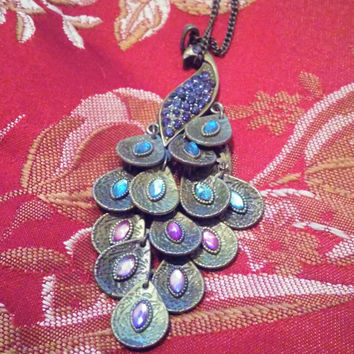Unique and Exquisite Antique Brass Tone Peacock Pendant Necklace With Amethyst and Aqua Blue Stones