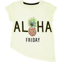 River Island Mini girls lime pineapple asymmetric t-shirt