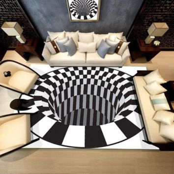 3D White Black Abstract Geometric Living Room Area Rugs