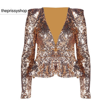 Golden Sequin Love Top