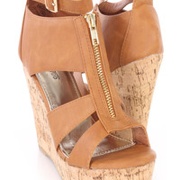 Tan Strappy Peep Toe Cork Wedges Faux Leather