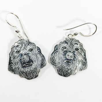 Vintage Gray Shih Tzu Jewelry, Glass Enamel on Silver Dog Earrings, Shaggy Dog Pierced Earrings, Animal Lover's Earrings