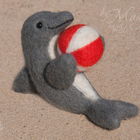 Felted dolphin, felt animal, wool toy, needle felted creature, marine, sea, ball, gift, small