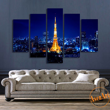5 Panel Wall Art Tokyo Tower Night Landscape Painting Canvas Prints Artwork Picture for Living Room Unframed
