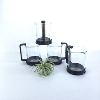 Vintage Bodum Espresso Cups and Creamer, Modern Bodum Glass Espresso Cups with Creamer