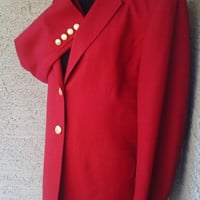 Talbot's Red blazer suit jacket women vintage size 8 wool classic gold buttons two button front four button cuff stunning bright  classic