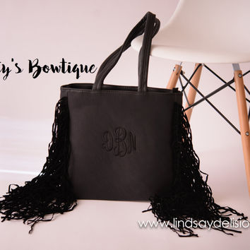 Black Fringe Purse -- Monogram Bag in Faux Leather with Embroidered Initials – Also in White, Red and Brown