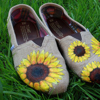 Sunflowers Original Custom Acrylic Painting for Toms/Canvas Shoes