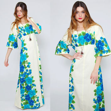 Vintage 70s TROPICAL Floral Caftan HAWAIIAN Maxi Dress TURQUOISE & Cobalt Blue Hibiscus Ethnic Summer Dress
