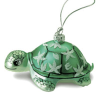 """Hand Painted Glass """"Honu Turtle"""" Ornament"""