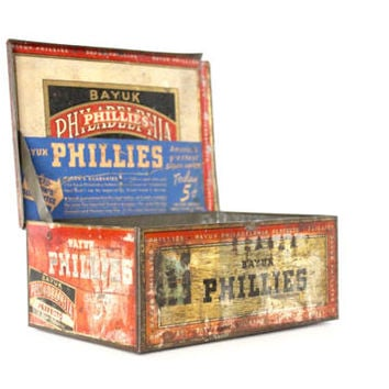 Vintage 1930s Bayuk Phillies Philadelphia Cigar Tin 5 Cent | 30s Tobacciana Rustic Box Decor Man Cave
