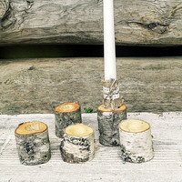 50 Rustic Decorative Birch Candle Holders, Natural Birch Wood Wedding Candle Holders, Rustic Wedding Candle Holders