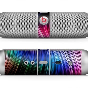 The Neon Rainbow Wavy Strips Skin for the Beats by Dre Pill Bluetooth Speaker