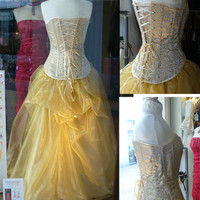 Cream and gold steel boned corset and full skirt for wedding or prom dress - one off size 10-14