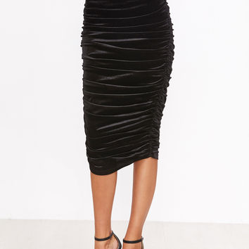 Black Ruched Plain Long Skirt