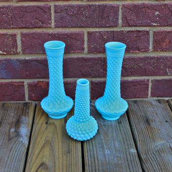 Vintage Milk Glass Vases /Aqua /painted vase set /mid century/ colorful decor /upcycled /retro /60s /