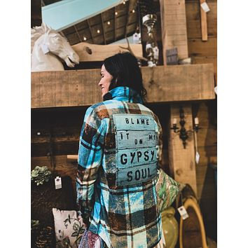 Blame it on my Gypsy Soul -Turquoise/ Black Plaid