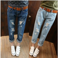 Loose plus size hole jeans female trousers ripped jeans woman denim boyfriend jeans for women QY3929QAF [8823739527]