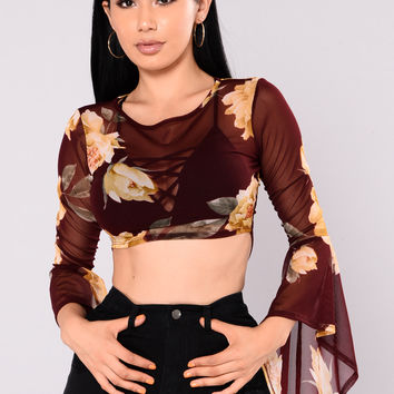 Ring My Bell Top - Burgundy/Combo