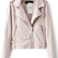 Pink Oblique Zipper Long Sleeve Cropped Jacket