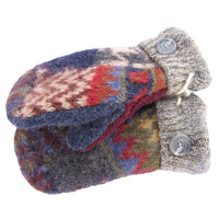 Recycled Wool Sweater Mittens by SWEATY MITTS Upcycled Women's Gift Handmade in Wisconsin - Patchwork Pattern Navy Burgundy Green Purple