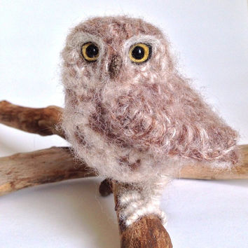 Little Owl realistic crochet bird sculpture