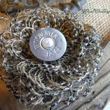 Handmade Camo or Natural Burlap Loop  Flowers with shotgun end accents, beautiful for your wedding bouquets, accents, guestbooks ect..