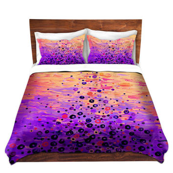 WHIMSICAL Fine Art Duvet Covers, Queen, Twin Size What Goes Up Revisited Home Decor Space Pattern Bedding Pink Peach Purple Colorful Bedroom